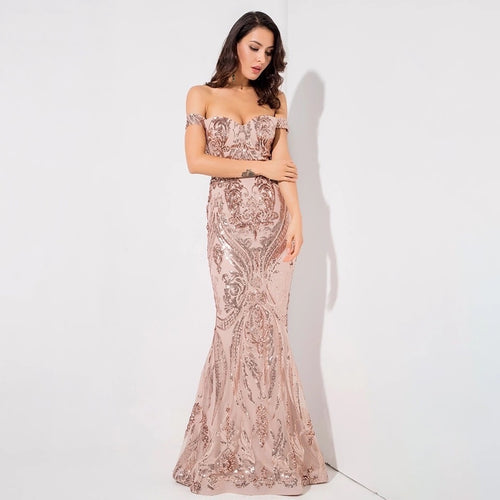 Sweetheart Rose Gold Bardot Sequin Maxi Fishtail Dress - Fashion Genie Boutique