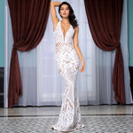 Beauty Bombshell White Sequin Fishtail Maxi Dress - Fashion Genie Boutique