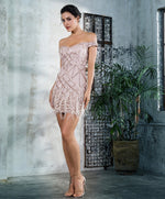 Supernova Rose Gold Bardot Sequin Feather Mini Dress - Fashion Genie Boutique