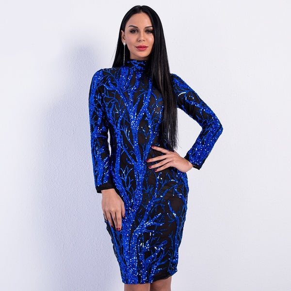 Feeling Alive Blue Sequin Long Sleeve Mini Dress - Fashion Genie Boutique