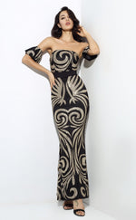 Senorita Black & Gold Glitter Embellished Bardot Maxi - Fashion Genie Boutique