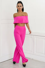 Shopping Spree Pink Bardot Crop Top & Wide Leg Trousers Co-Ord - Fashion Genie Boutique