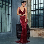 Love On Me Burgundy Sequin Maxi Party Gown Dress - Fashion Genie Boutique