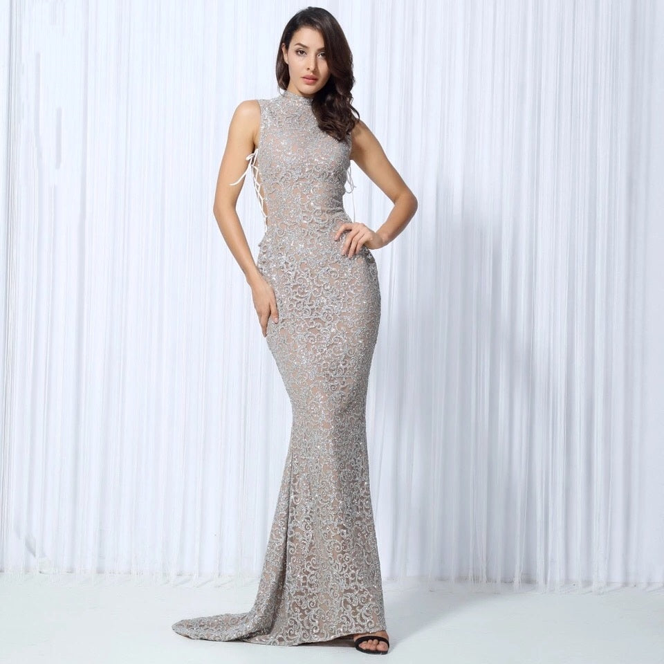 Hopeless Romantic Silver Glitter Lace Fishtail Maxi Party Gown Dress ...