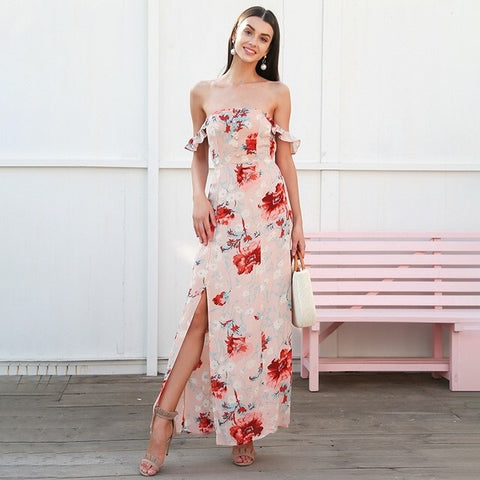 Sweet Romance Nude Floral Bardot Maxi Dress - Fashion Genie Boutique