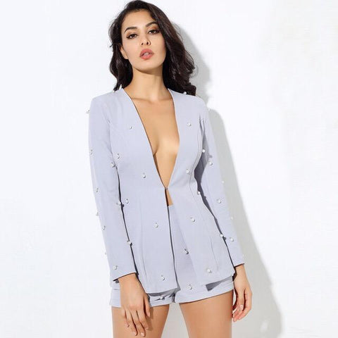 Bethany Blue Pearl Shorts and Blazer Two Piece Set - Fashion Genie Boutique