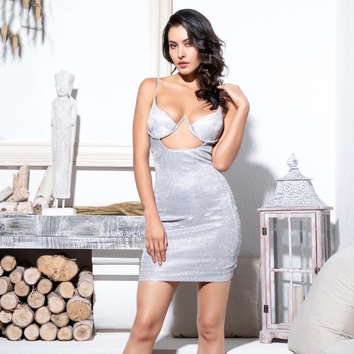 Dolly Mixture Silver Cut Out Glitter Mini Dress - Fashion Genie Boutique