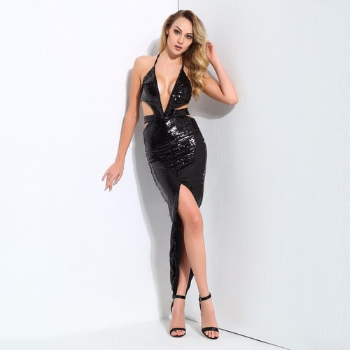 The Power Of Love Black Sequin Cut Out Maxi Dress - Fashion Genie Boutique