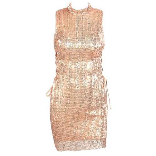 We Vibing Rose Gold Sequin Mini Party Dress - Fashion Genie Boutique