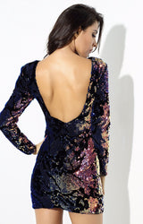 When in Rome Navy Iridescent Sequin Long Sleeve Mini Dress - Fashion Genie Boutique