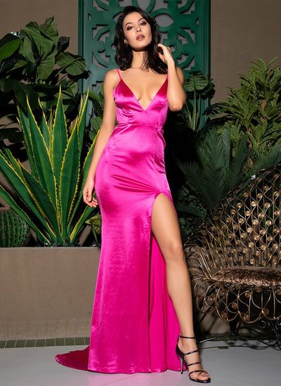 On The Bright Side Pink Satin Maxi Gown Dress - Fashion Genie Boutique