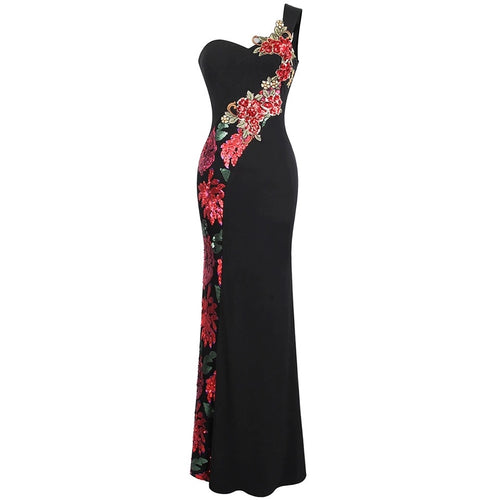 Rose Gal Black Sequin Embroidered One Shoulder Maxi Gown Dress - Fashion Genie Boutique