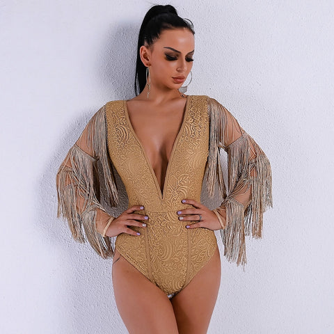 Luxury Merritt Gold Fringe Sleeve Mesh Bodysuit - Fashion Genie Boutique