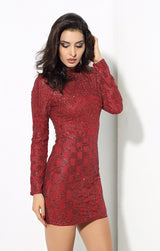 Gatsby Red Glitter Embellished Long Sleeve Mini Dress - Fashion Genie Boutique