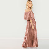Dream Of You Pink Bardot Pleated Maxi Dress - Fashion Genie Boutique