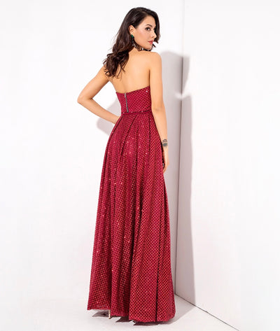 A Star Is Born Red Glitter Strapless Maxi Gown Dress - Fashion Genie Boutique
