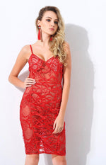 Adore You Red Lace Mini Dress - Fashion Genie Boutique