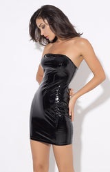 Worth The Risk PVC Strapless Bodycon Mini Dress - Fashion Genie Boutique
