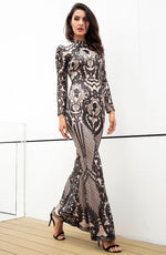 Secret Lust Black Sequin Long Sleeve Maxi Dress - Fashion Genie Boutique