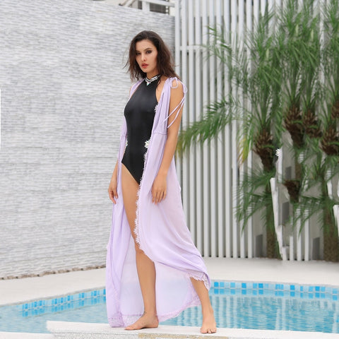 Summer Sun Lavender Chiffon Maxi Cover Up