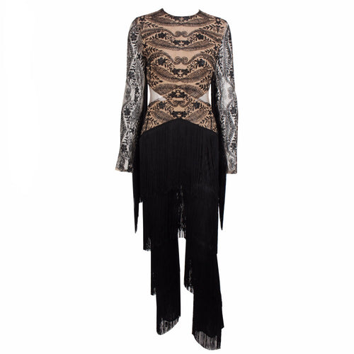 Confessions Black Long Sleeved Tassel Fringed Jumpsuit - Fashion Genie Boutique