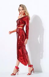 Eyes On The Prize Red Sequin Maxi Dress - Fashion Genie Boutique