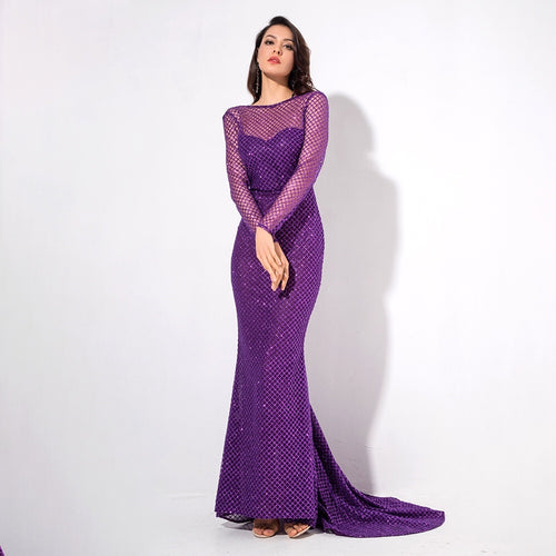 Making Moves Purple Long Sleeve Glitter Maxi Gown Dress - Fashion Genie Boutique
