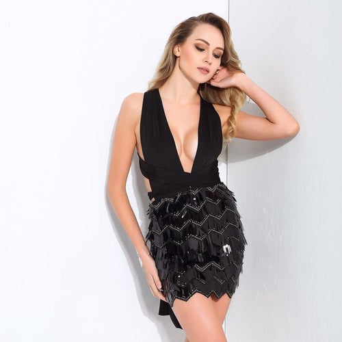 So Gorgeous Black Plunge Sequin Tassel Mini Dress - Fashion Genie Boutique