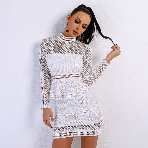 Meisha White Crochet Long Sleeve Mini Dress - Fashion Genie Boutique
