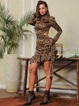 Undecided Love Brown Leopard Print Long Sleeve Ruffle Mini Dress - Fashion Genie Boutique