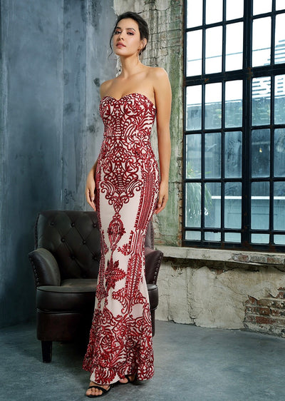 Godiva Red Strapless Sequin Maxi Fishtail Dress - Fashion Genie Boutique