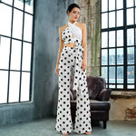 One Kiss White Polka Dot Crop Top & Wide Leg Trousers Co-Ord - Fashion Genie Boutique