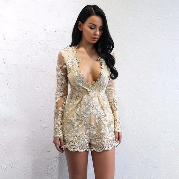 Barbarella Gold Embroidered Long Sleeve Playsuit - Fashion Genie Boutique