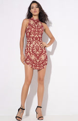 Day Dream Red Glitter Embellished Mini Dress - Fashion Genie Boutique