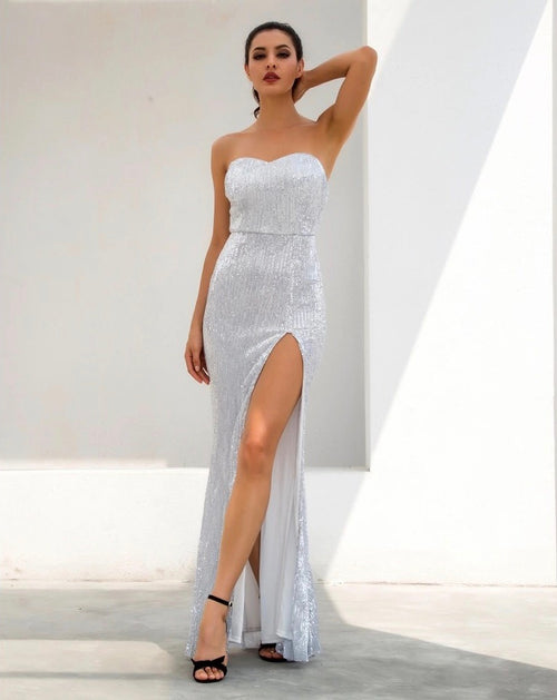 319afee0dac02 Disco Belle Silver Sequin Strapless Split Maxi Gown Dress - Fashion Genie  Boutique