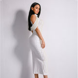 High Society White Stud Embellished Slinky Maxi Dress - Fashion Genie Boutique