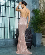 Alabama Rose Gold Cowl Neck Sequin Maxi Fishtail Dress - Fashion Genie Boutique