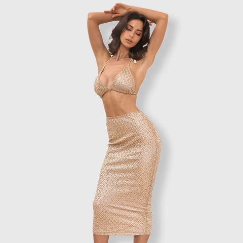 Under The Radar Gold Glitter Bralet & Midi Skirt Co-Ord - Fashion Genie Boutique
