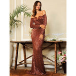 Oh So Fancy Bronze Bardot Sequin Long Sleeve Maxi Gown Dress - Fashion Genie Boutique