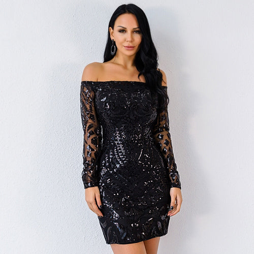 Rage And Romance Black Bardot Sequin Sheer Mini Dress - Fashion Genie Boutique