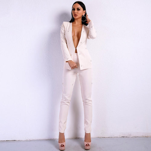 Bella Beige Pearl Trousers and Blazer Co-Ord - Fashion Genie Boutique
