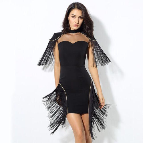 Fancy Flair Black Fringed Shoulder Mini Dress - Fashion Genie Boutique