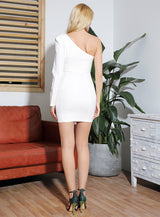 Yes Please White Asymmetrical Long Sleeve Mini Dress - Fashion Genie Boutique