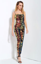 Love Lockdown Navy Iridescent Sequin Jumpsuit - Fashion Genie Boutique