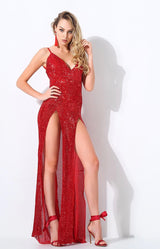Iconic Red Sequin Double Split Maxi Party Gown Dress - Fashion Genie Boutique