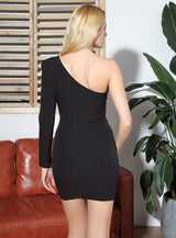 Yes Please Black Asymmetrical Long Sleeve Mini Dress - Fashion Genie Boutique