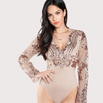 Diamonds Are Forever Nude Mesh Gold Sequin Bodysuit - Fashion Genie Boutique