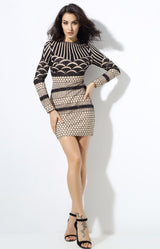 Alassia Black & Nude Glitter Long Sleeve Mini Dress - Fashion Genie Boutique