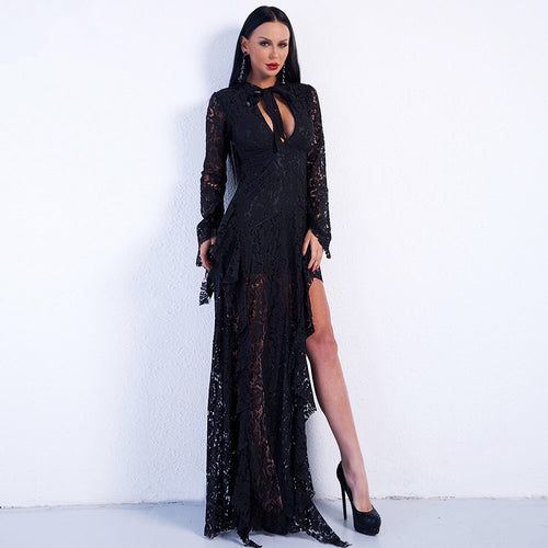 Bewitched Black Lace Maxi Dress - Fashion Genie Boutique