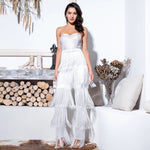 Queen of Sheen White Strapless Fringe Jumpsuit - Fashion Genie Boutique